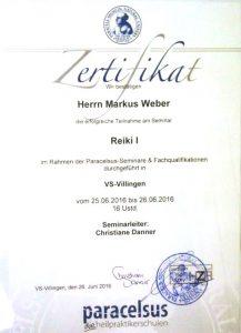 Zertifikat Markus Weber Reiki Grad-1